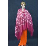 Pink Kashmiri Shawl pure wool Pashmina all over Zari embroidery C0647