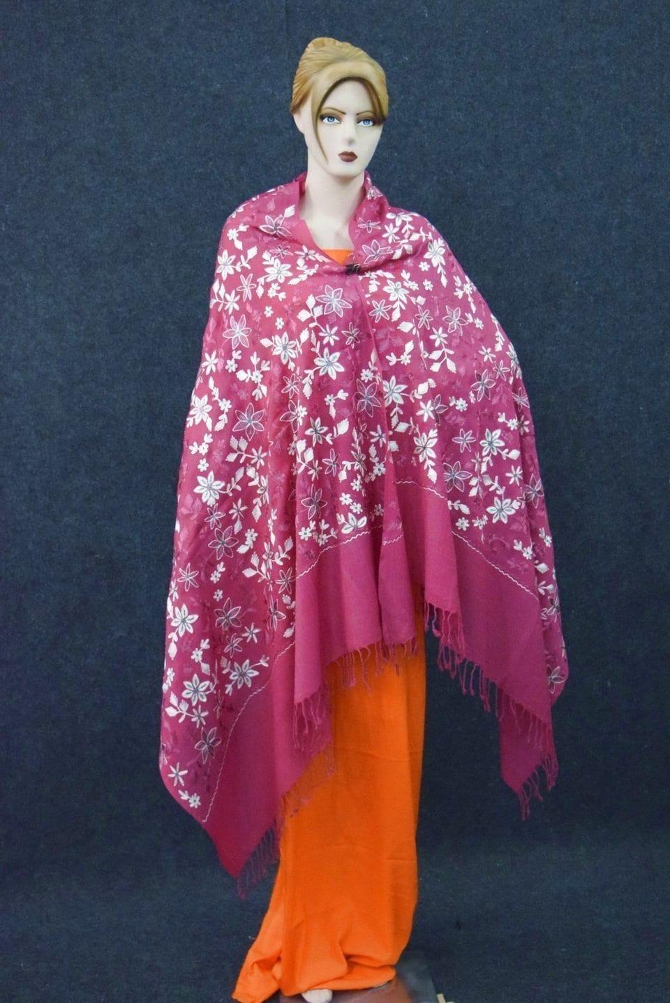 Pink Kashmiri Shawl pure wool Pashmina all over Zari embroidery C0647 2