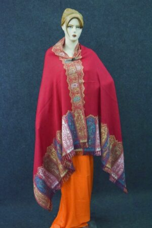 Dark Red Kashmiri Shawl pure wool Kani Pashmina wrap C0649