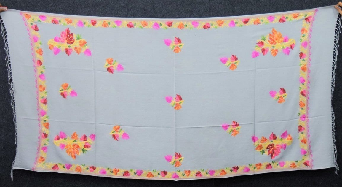 Light Grey Kashmiri Shawl Chinar Embroidery pure wool Pashmina wrap C0656 2