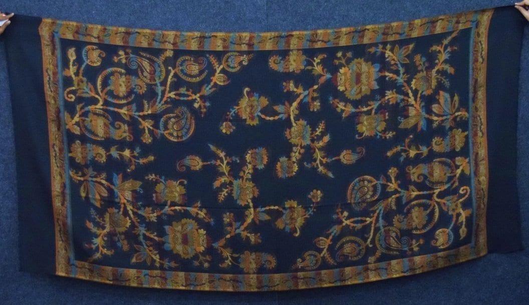 Black Kashmiri Shawl Kani Cutting Work pure wool Pashmina wrap C0659 3