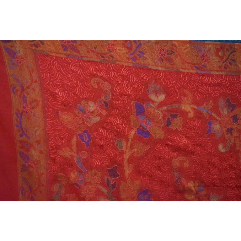 Red Kashmiri Shawl Kani Embroidery Work pure wool Pashmina wrap C0661