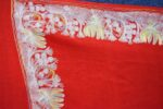 Bridal Red Kashmiri Shawl Zari Border Embroidery Work pure wool Pashmina wrap C0663