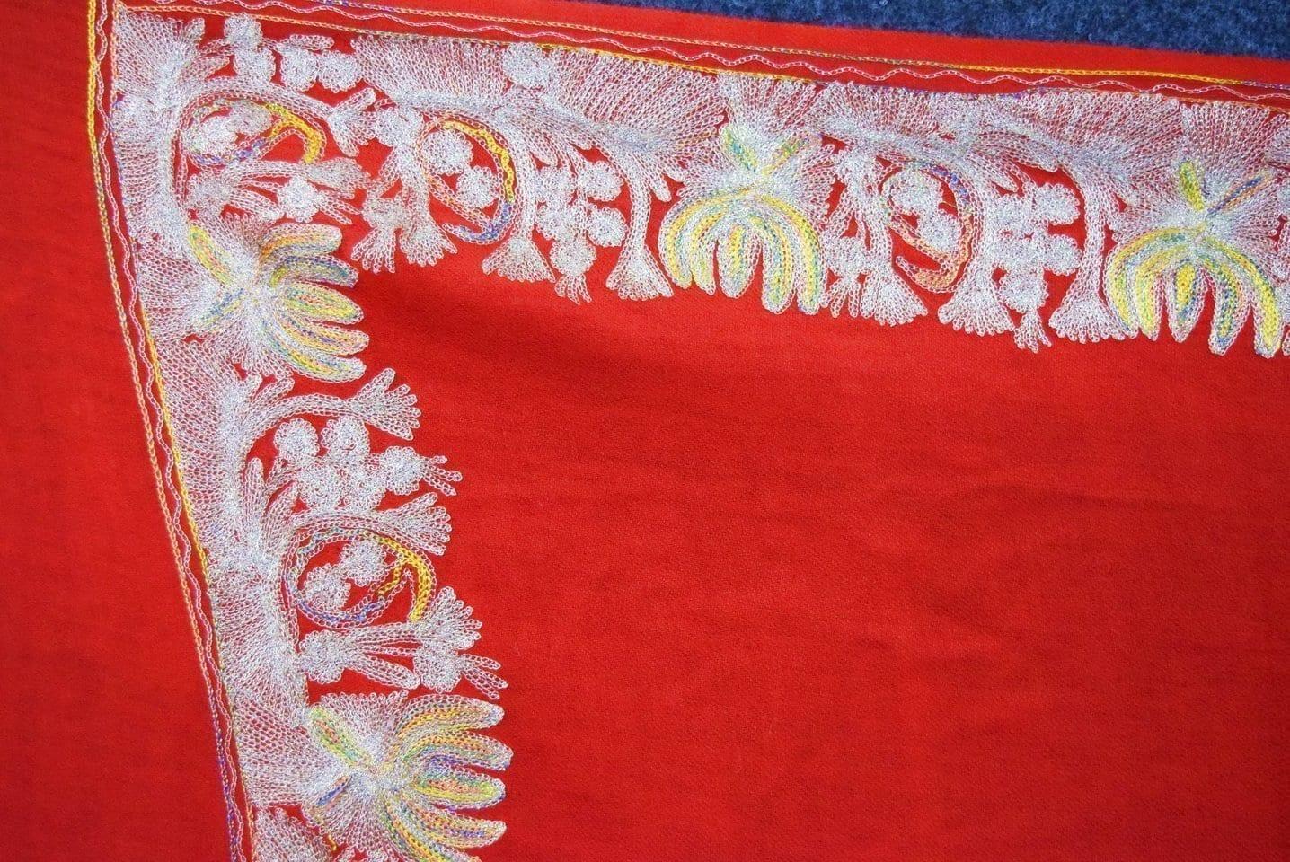 Bridal Red Kashmiri Shawl Zari Border Embroidery Work pure wool Pashmina wrap C0663 2