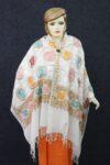 Off White Kashmiri Stole Heavy Embroidery Work pure wool Pashmina wrap C0669