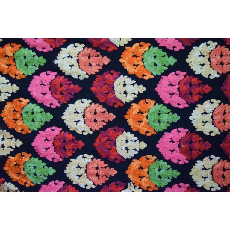 Black Kashmiri Stole Heavy Embroidery Work pure wool Pashmina wrap C0670