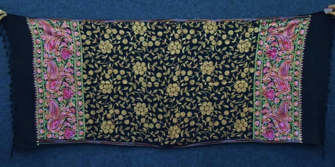 Black Kashmiri Stole Embroidery Work pure wool Pashmina wrap C0673 1