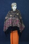 Black Kashmiri Stole Embroidery Work pure wool Pashmina wrap C0673