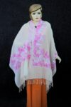 Cream/Pink Kashmiri Stole Border Work Embroidery pure wool Pashmina wrap C0676