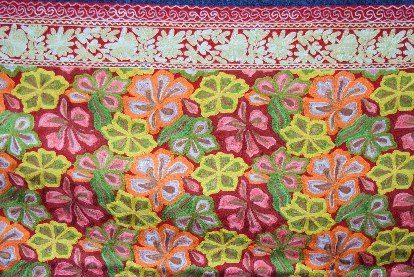 Kashmiri Stole Heavy Embroidery Work pure wool Pashmina wrap C0677 2