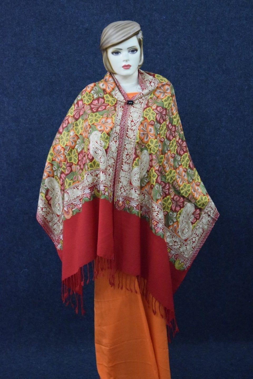 Kashmiri Stole Heavy Embroidery Work pure wool Pashmina wrap C0677 3