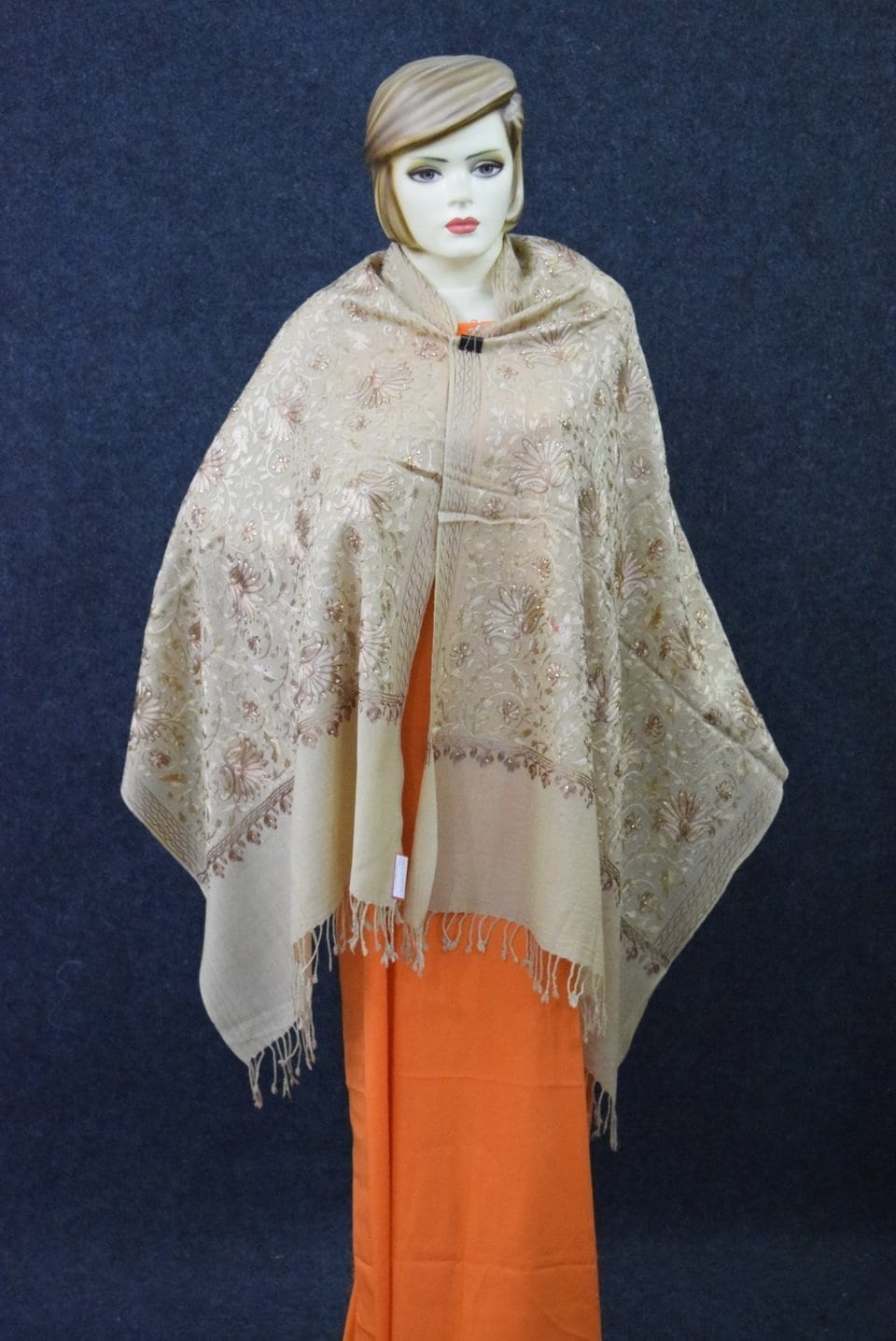 Embroidery Work Golden Kashmiri Stole pure wool Pashmina wrap C0679 1