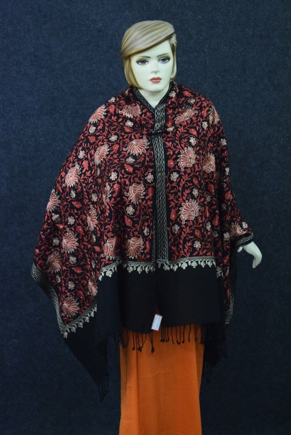 Red Embroidery Work Black Kashmiri Stole pure wool Pashmina wrap C0680 3