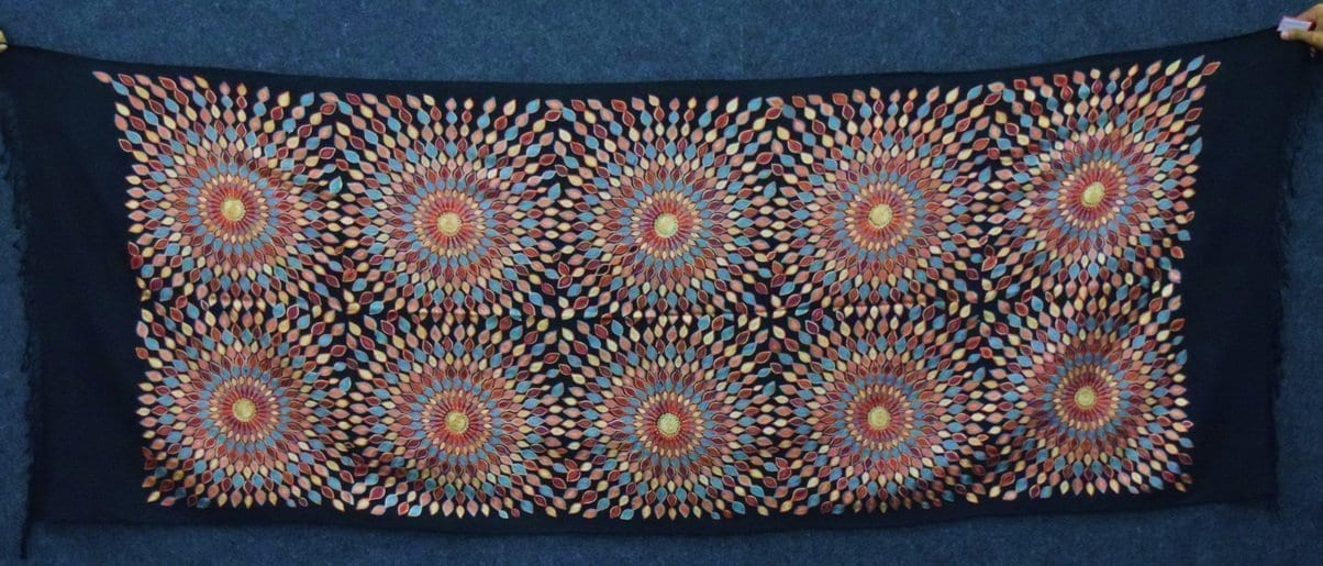 Multicolour Embroidery Work Black Kashmiri Stole pure wool Pashmina wrap C0682 1