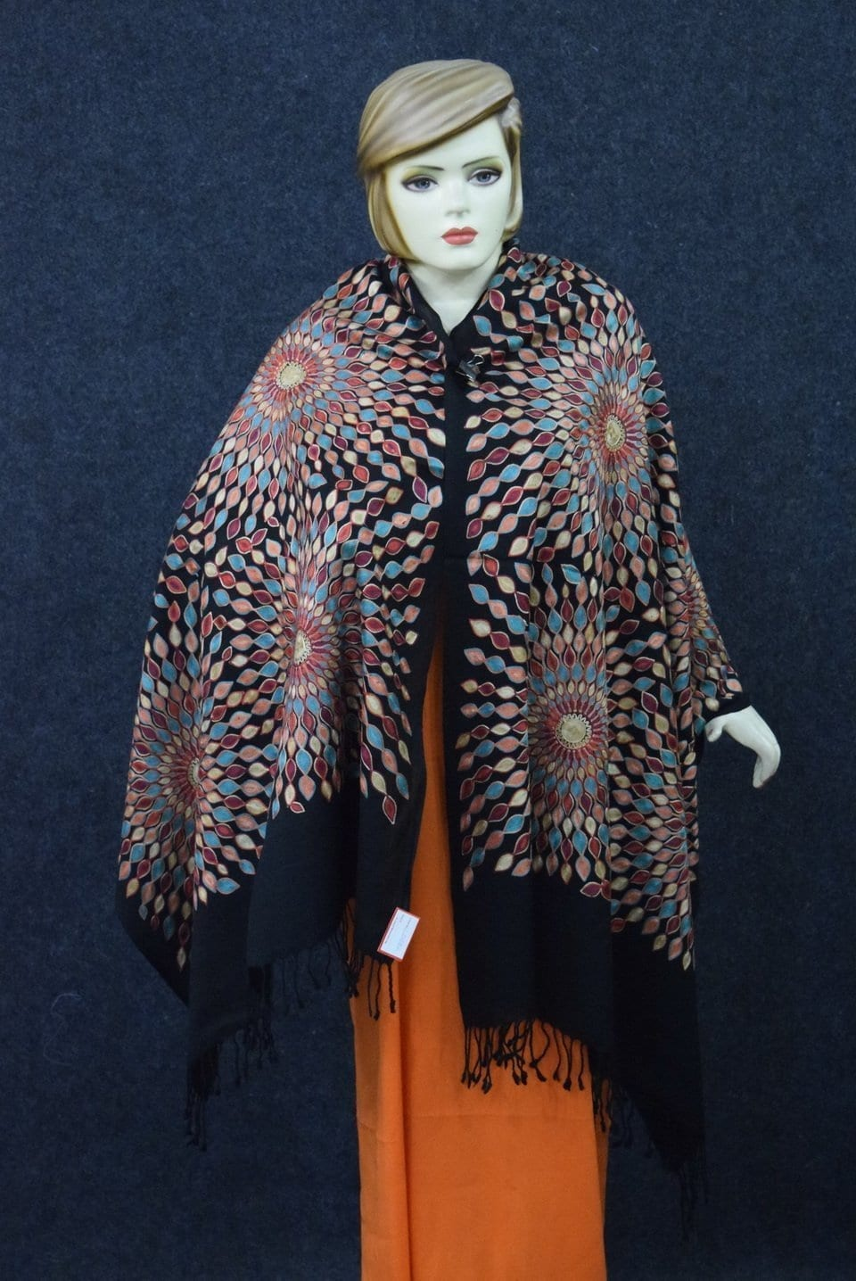 Multicolour Embroidery Work Black Kashmiri Stole pure wool Pashmina wrap C0682 3