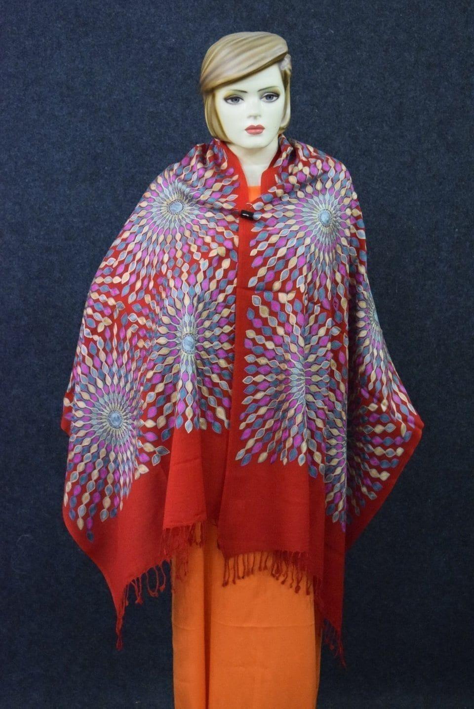 Red Kashmiri Stole Multicolour Embroidery Work pure wool Pashmina wrap C0684 1