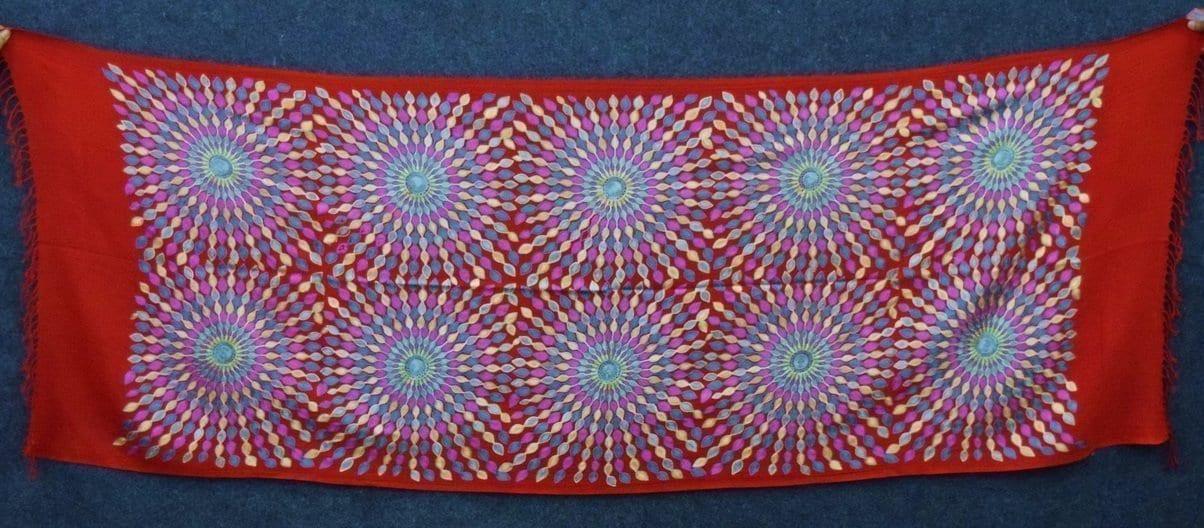 Red Kashmiri Stole Multicolour Embroidery Work pure wool Pashmina wrap C0684 3