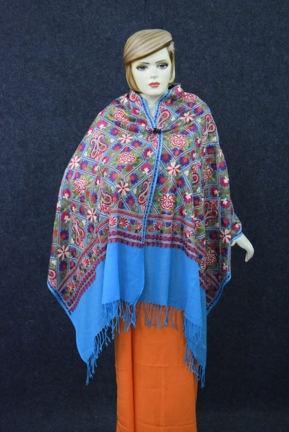 Firozi Kashmiri Stole Multicolour Heavy Embroidery Work pure wool Pashmina C0685 1