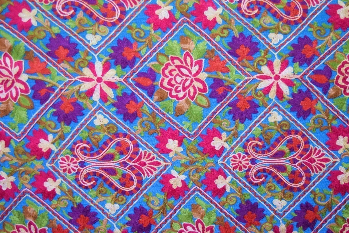 Firozi Kashmiri Stole Multicolour Heavy Embroidery Work pure wool Pashmina C0685 2