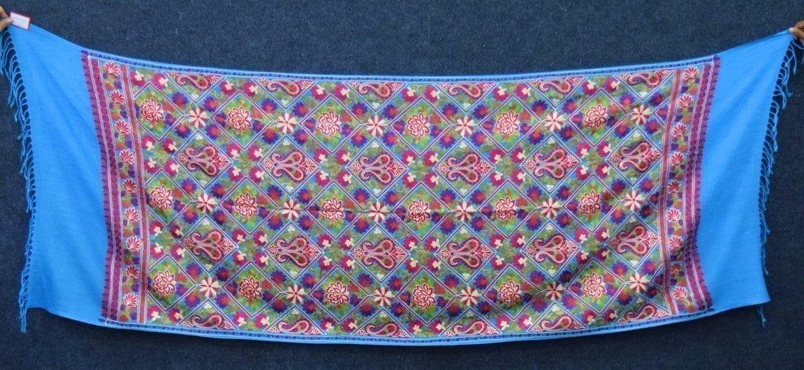 Firozi Kashmiri Stole Multicolour Heavy Embroidery Work pure wool Pashmina C0685 3