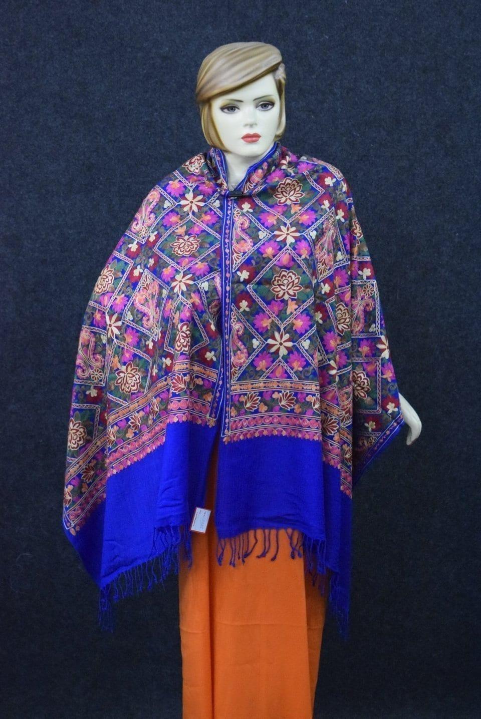 Royal Blue Kashmiri Stole Multicolour Heavy Embroidery Work pure wool Pashmina C0686 1