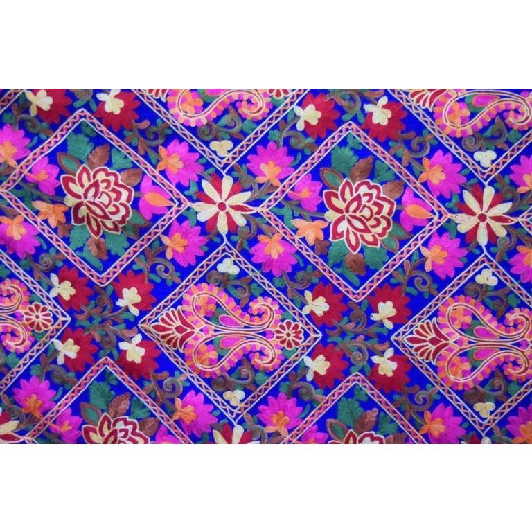 Royal Blue Kashmiri Stole Multicolour Heavy Embroidery Work pure wool Pashmina C0686