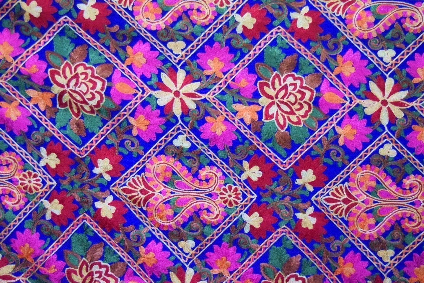 Royal Blue Kashmiri Stole Multicolour Heavy Embroidery Work pure wool Pashmina C0686 2