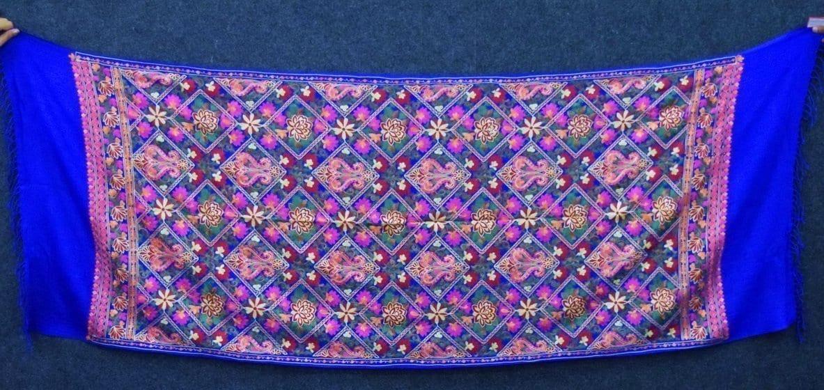 Royal Blue Kashmiri Stole Multicolour Heavy Embroidery Work pure wool Pashmina C0686 3