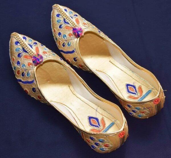 Multicolour Embroidered Desi Punjabi Jutti Party wear Belly Shoes PJ9777