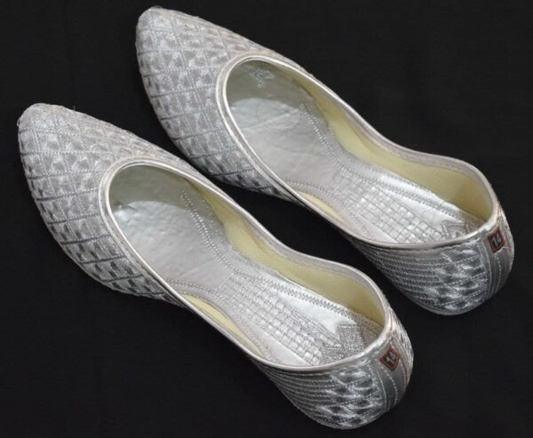 Silver Embroidered Desi Punjabi Jutti Party wear Belly Shoes PJ9782