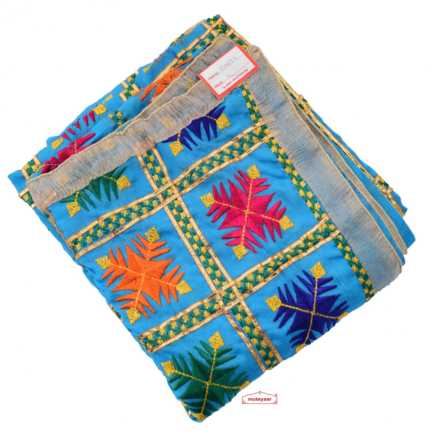 Firozi Phulkari Dupatta with Gota Work D0897 1