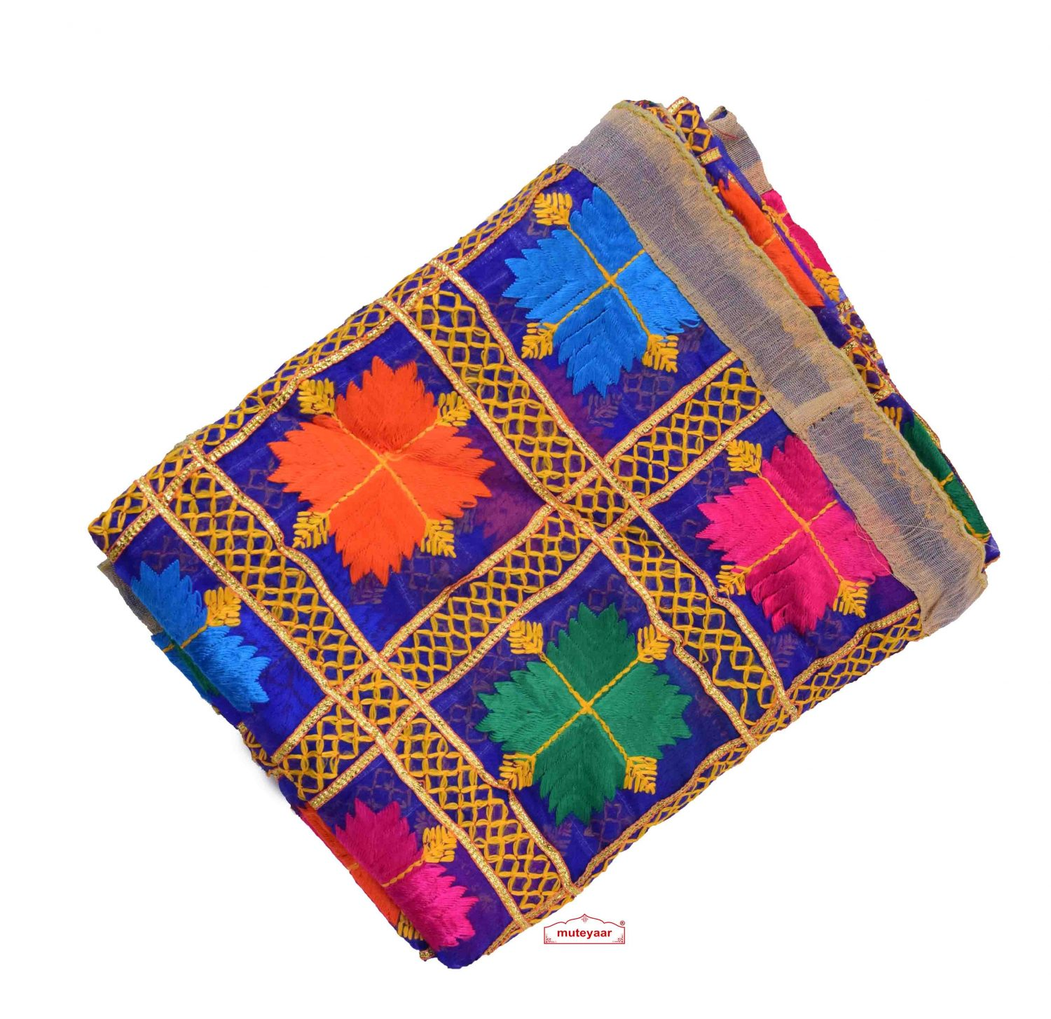 Royal Blue Phulkari Dupatta with Gota Work D0898 1