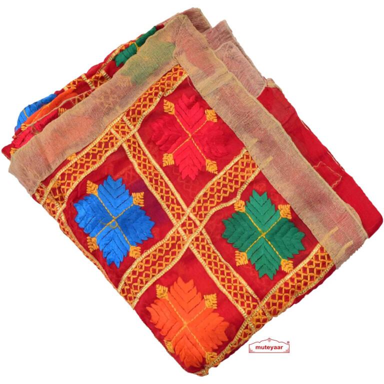 Red Phulkari Dupatta with Gota Work D0900