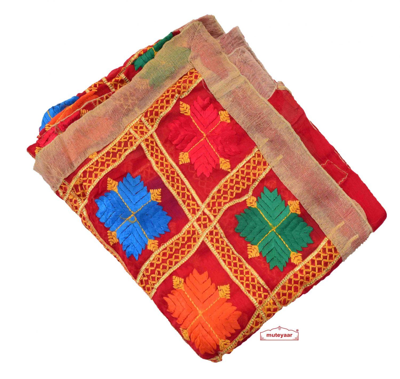 Red Phulkari Dupatta with Gota Work D0900 1