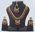Kundan Necklace Earrings set with matching Tikka J0373