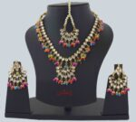 Multicolour Kundan Tikka Earrings Necklace Haar Set J0376