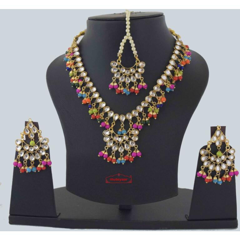 Multicolour Kundan Tikka Earrings Necklace Haar Set J0376