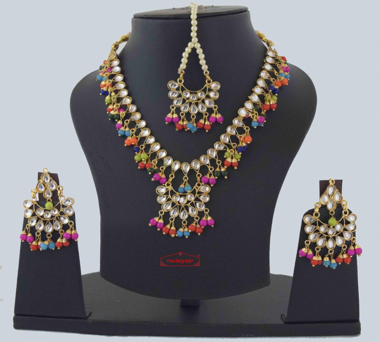 Multicolour Kundan Tikka Earrings Necklace Haar Set J0376 1