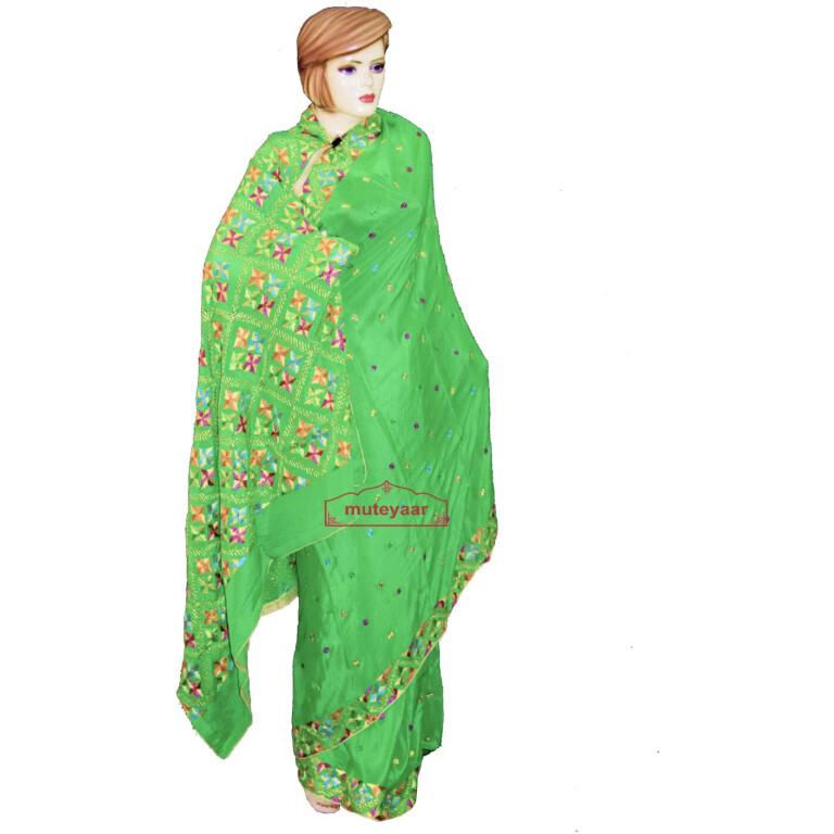 Parrot green phulkari saree S32