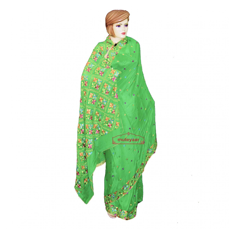 Parrot Green Pure Chiffon Phulkari Saree S32 1