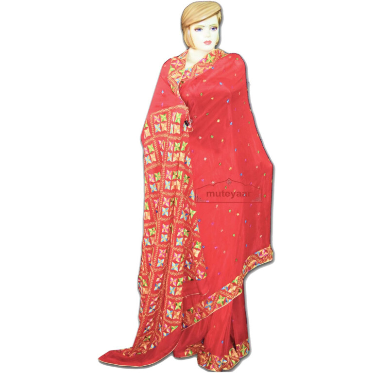 pure chiffon bridal red phulkari saree S33
