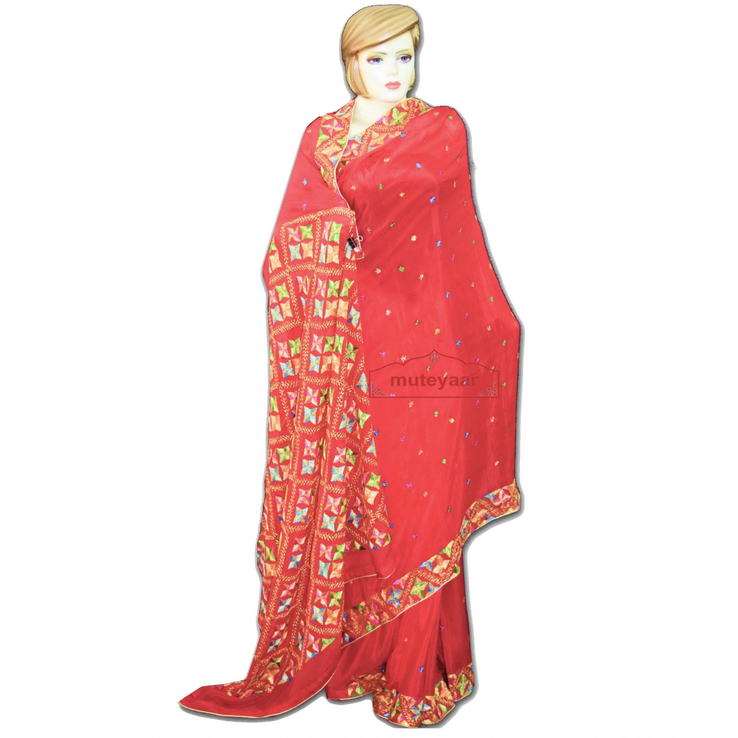Pure Chiffon Bridal Red Phulkari Saree S33 1