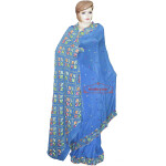 Hand Embroidered Saree Pure Chiffon Bridal Phulkari Wedding Wear S35