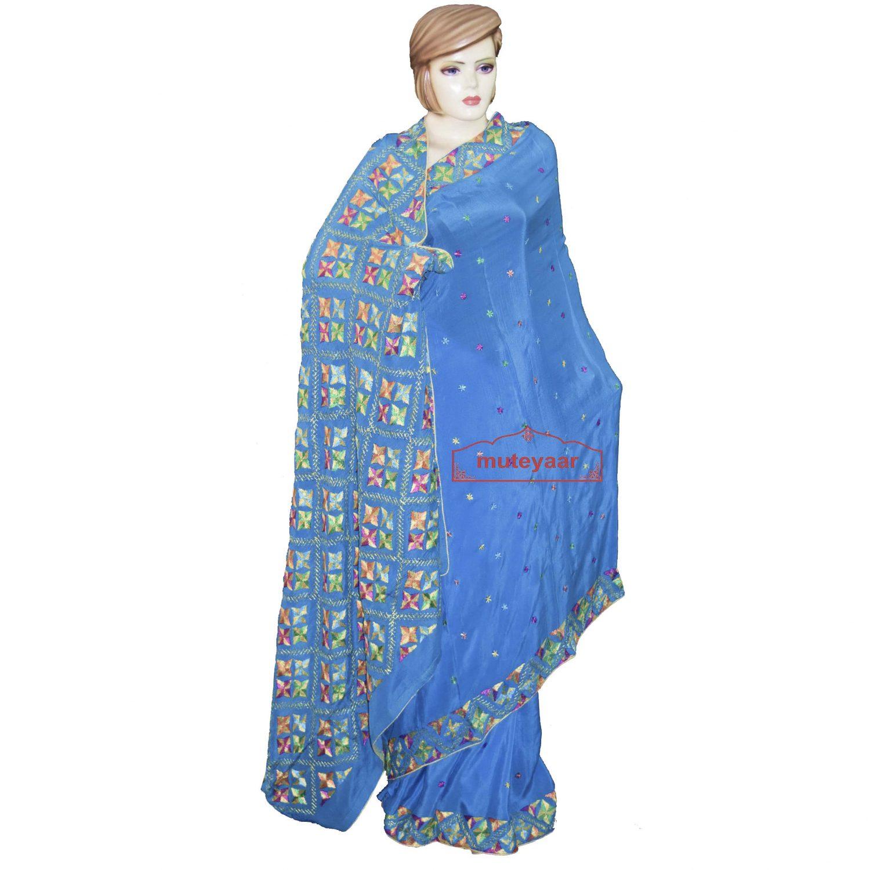 Hand Embroidered Saree Pure Chiffon Bridal Phulkari Wedding Wear S35 1