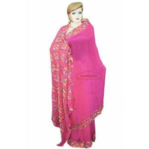 Pure Chiffon Bridal Pink Phulkari Saree Hand Embroidered Wedding Wear S36