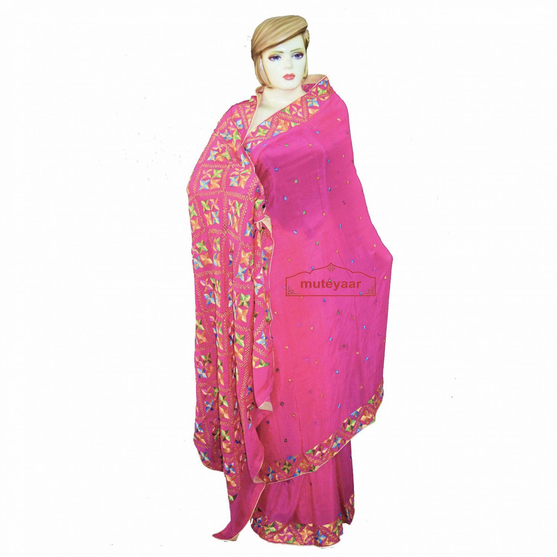 Pure Chiffon Bridal Pink Phulkari Saree Hand Embroidered Wedding Wear S36 1