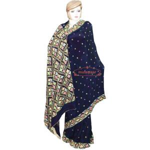 Pure Chiffon Black Phulkari Saree Hand Embroidered Wedding Wear S37