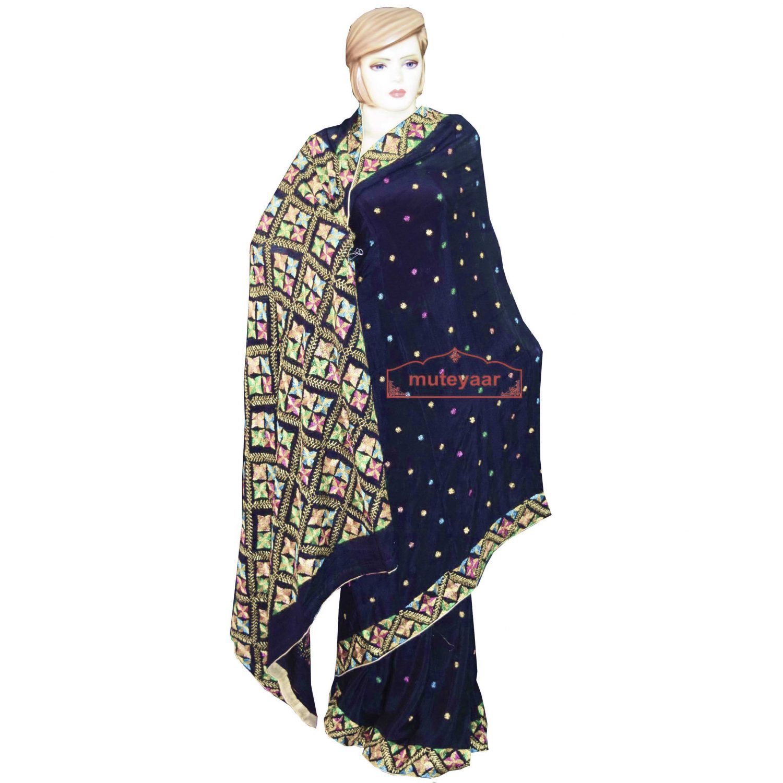 Pure Chiffon Black Phulkari Saree Hand Embroidered Wedding Wear S37 1
