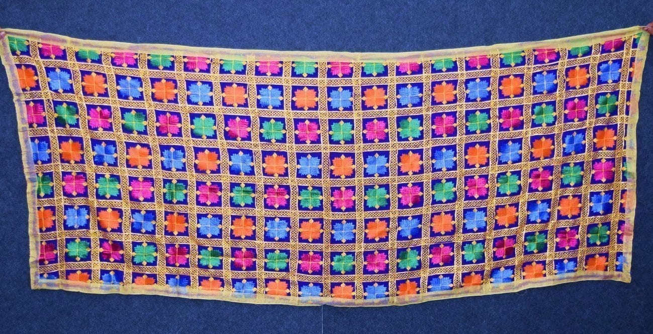 Blue PHULKARI Dupatta with Gota Work Party Wear M/C Embroidered D0898 2