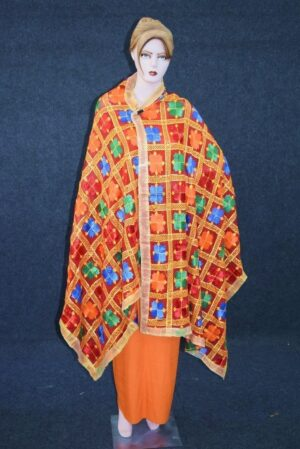 Red PHULKARI Dupatta with Gota Work Party Wear M/C Embroidered D0900
